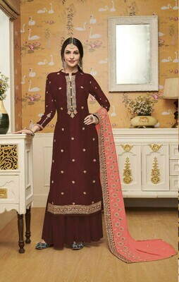 Stylish Designer Stunning Maroon Color Embroidery Work Party Wear Suit
