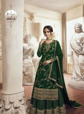 Gorgeous Heavy Green Color With Embroidery Stich Work