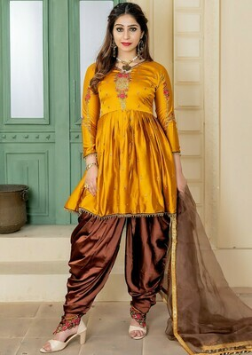 Gracefully Apricot Color Party Wear Embroidery Salwar  Suit