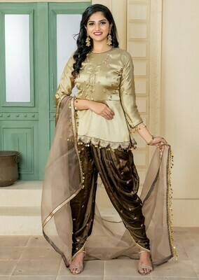 Trendy Cream Color Party Wear Embroidery  Salwar Suit