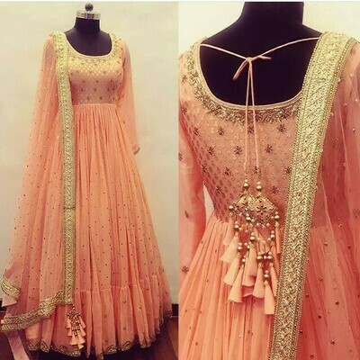 Designer Peach Color Long Gown