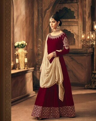 Red Colored  Anarkali  Suit With  Embroidry Work