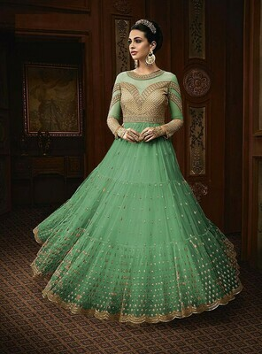 Glowing Pista Color Net With Embroidery Work Party Wear Designer Gown