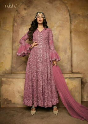 Pink  Colored  Anarkali  Suit With  Embroidry Work