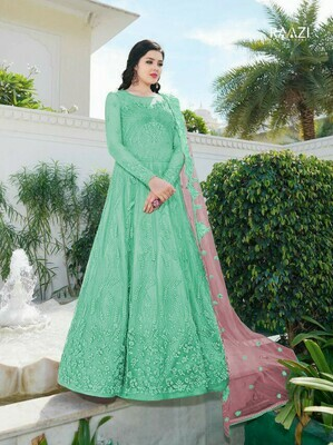 Light Green Color Long Gown With Heavy  Duaptta