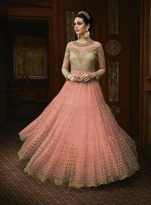 Beautiful Peach Color Net With Embroidery Work Party Wear Designer Gown