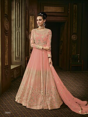Latest Peach Color Long Anarkali Suit