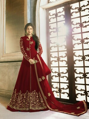 Red Color Party Wear Aanarkali Suit