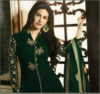 Green  Colored  Anarkali  Suit With  Embroidery Work