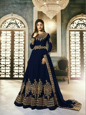 Latest  Navy Blue Color Heavy Anarkali Suit