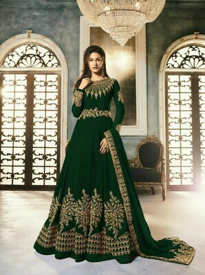Green Color Party Wear Embroidery Work Suit