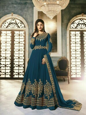 Embroidery Work Rama Color Anarkali Suit