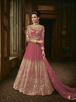 Fancy Embroidery Work Light Pink Color Long Suit