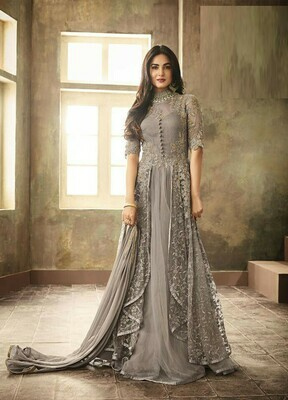 Heavy Embroidery Work Silver Color Suit