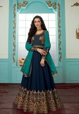 Glowing Navy Blue Color With Embroidery Work Anarkali Suit
