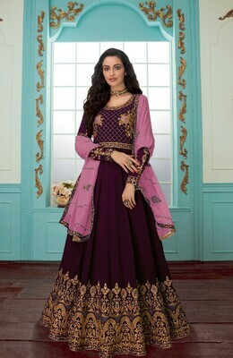 Mesmerising Wine Color With Embroidery Work Anarkali Suit