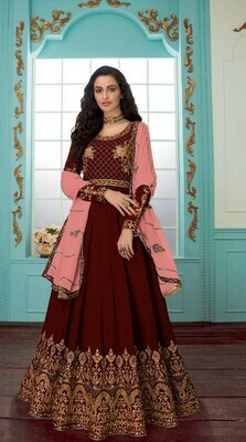 Demanding Red Color With Embroidery Work Anarkali Suit