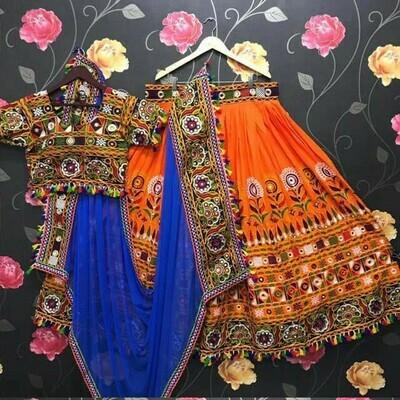 Resham Embroidered Adda Silk Lehenga Choli In Orange