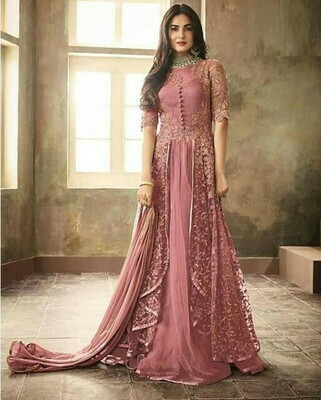 Beautiful  Peach Embroidered Anarkali Dress Online
