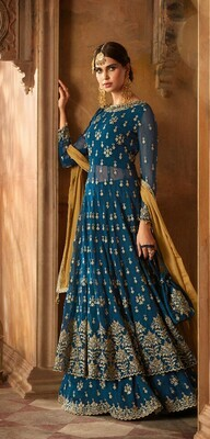 Blue Color Heavy Embroidery Work Anarkali Suit Online