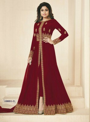 Red  Colored Salwar Plazzo Suit With Embroidry Work