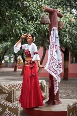 Resham Embroidered Soft Cotton Lehenga Choli In White And Red