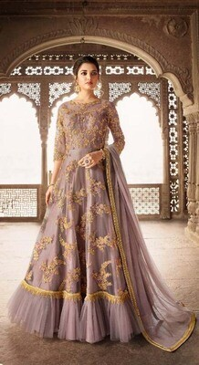 Blooming Brown Color Semi-Stitched Wear Festival Suit