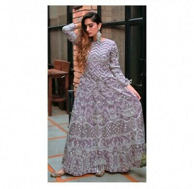 Stylish Purple Salwar Suit Embroidery Work