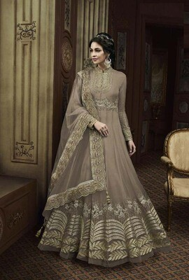 Breathtaking Party Wear Saddle Brown Color Butterfly Net Suit