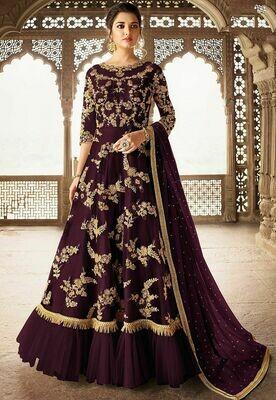 Captivating Purple Color Butterfly net Party Wear Suit