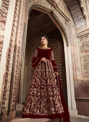 Charming Butterfly Net Blossom Maroon Color Party Wear Suit
