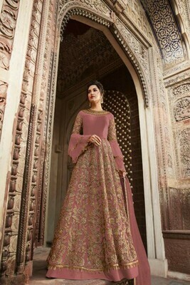 Traditional Butterfly Net Party Wear Peach Color Suit
