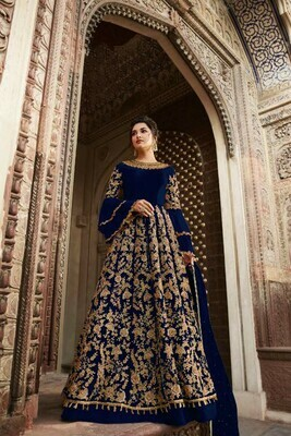 Blue Color Butterfly net with Heavy Embroidery Party Wear Suit