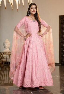 Pink Heavy Diamond Georgette Anarkali Suit