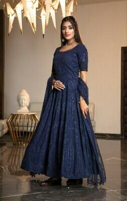 Heavy Diamond Georgette Navy Blue Anarkali Suit