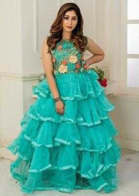 New Aqua Green Color Soft Net Wedding Indo Western Gown