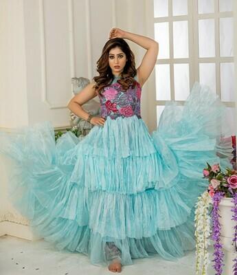 Ideal Light Sky Blue Color Party Wear Shoft Net Gown