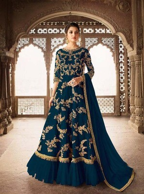Magnetic Blue Color Heavy Embroidery Wedding Suit