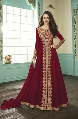 New Arrival Red Color Heavy Faux Georgette Anarkali Suit