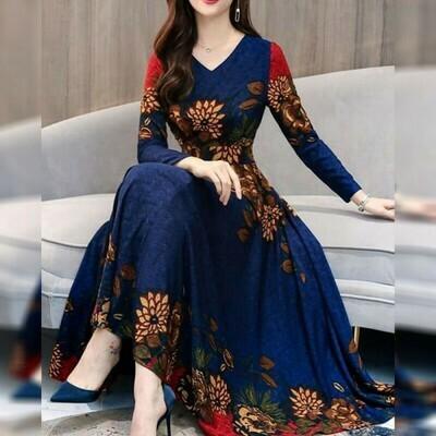 Navy Blue Color Georgette Long Gown Design