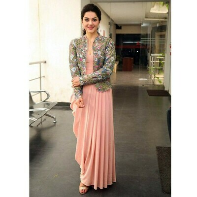 Bollywood Peach Color Drapping Gown