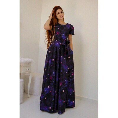 Blue Color Digital Print Party Wear Long Gown