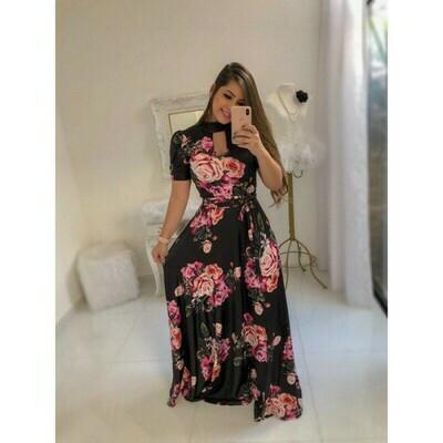 Latest Black Color Digital Print Long Gown