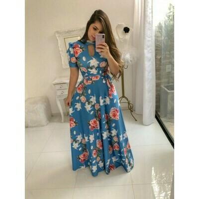 Sky Blue Color Digital Print Gown