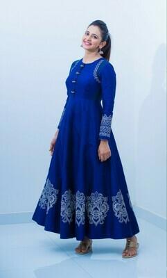 Latest Blue Color Party Wear Long Gown Design