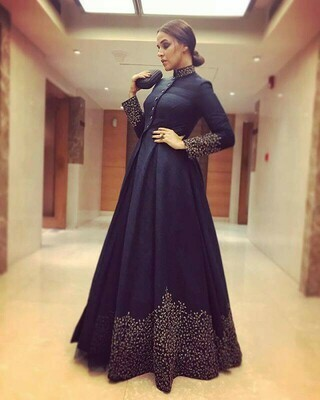 Navy Blue Color Silk Long Gown Collation