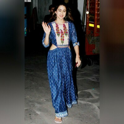 Bollywood Blue Color Western Wear Gown