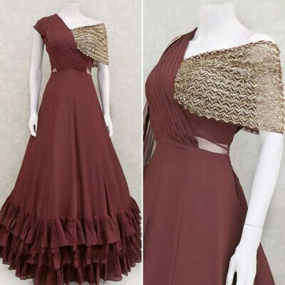 Ethnic Special Maroon Color Ruffle Gown