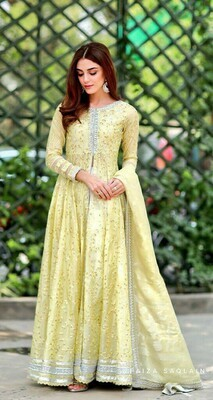 Stunning Capricious Yellow Cream Color Georgette Top With Embroidery Work