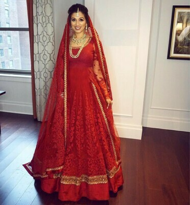 Latest Designing Red Suit with Georgette Heavy Embroidery Work